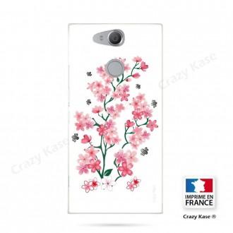 Coque Xperia XA2 souple motif Fleurs de Sakura sur fond blanc - Crazy Kase