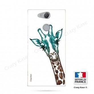 Coque Xperia XA2 souple motif Tête de Girafe sur fond blanc - Crazy Kase