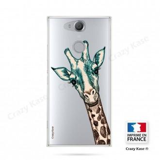 Coque Xperia XA2 souple motif Tête de Girafe - Crazy Kase