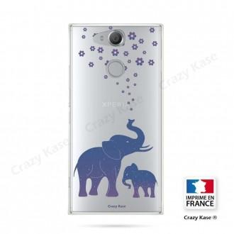 Coque Xperia XA2 souple motif Eléphant Bleu - Crazy Kase