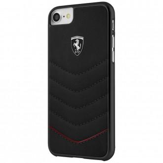Coque iPhone 8 / 7 / 6 cuir véritable noir - Ferrari