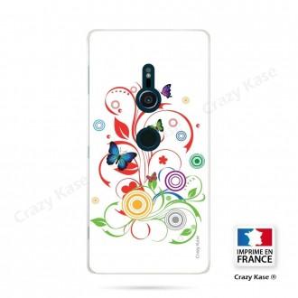 Coque Sony Xperia XZ2 souple motif Papillons et Cercles sur fond blanc - Crazy Kase