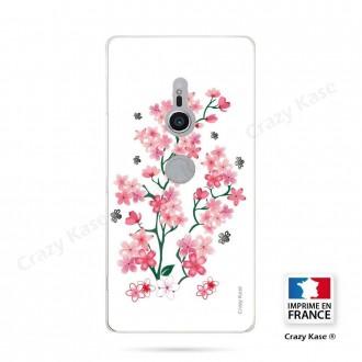 Coque Sony Xperia XZ2 souple motif Fleurs de Sakura sur fond blanc - Crazy Kase