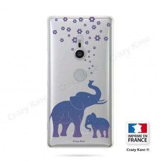 Coque Sony Xperia XZ2 souple motif Eléphant Bleu - Crazy Kase