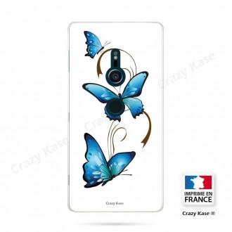 Coque Sony Xperia XZ2 souple motif Papillon et Arabesque sur fond blanc - Crazy Kase