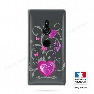 Coque Sony Xperia XZ2 souple motif Cœur et papillon - Crazy Kase