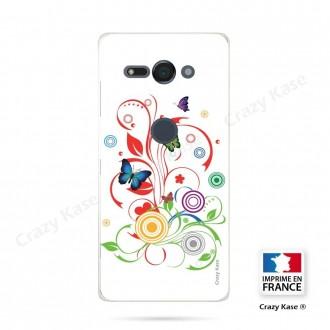 Coque Sony Xperia XZ2 Compact souple motif Papillons et Cercles sur fond blanc - Crazy Kase