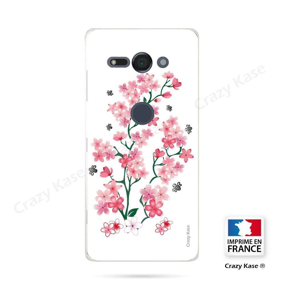 Coque Sony Xperia XZ2 Compact souple motif Fleurs de Sakura sur fond blanc - Crazy Kase