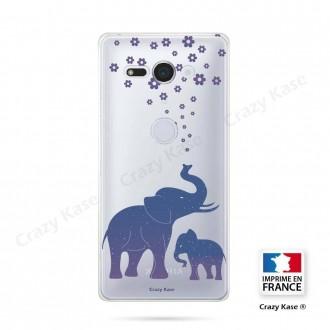 Coque Sony Xperia XZ2 Compact souple motif Eléphant Bleu - Crazy Kase