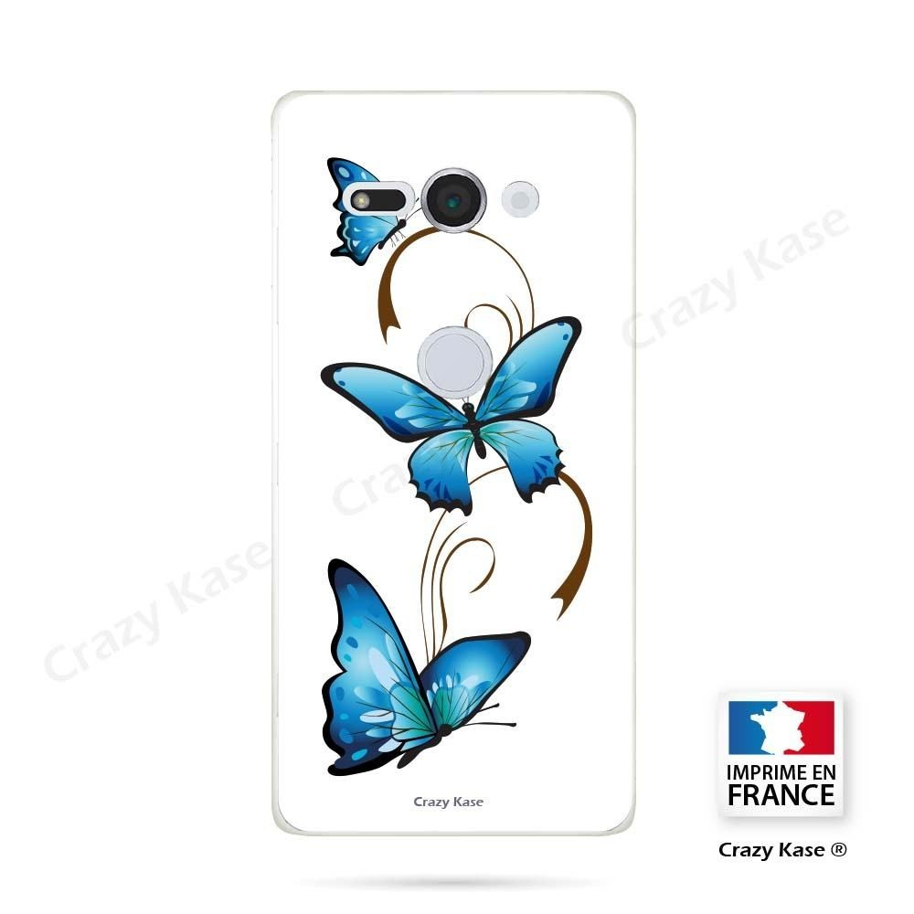 Coque Sony Xperia XZ2 Compact souple motif Papillon et Arabesque sur fond blanc - Crazy Kase