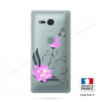 Coque Sony Xperia XZ2 Compact souple motif Fleur de lotus et papillon - Crazy Kase