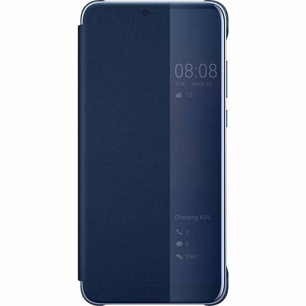 Etui Huawei P20 Folio Smart View Flip Cover Bleu Nuit - Huawei