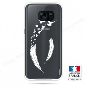 Coque Galaxy S7 souple motif Plume et envol d'oiseaux - Crazy Kase