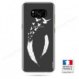 Coque Galaxy S8 souple motif Plume et envol d'oiseaux - Crazy Kase