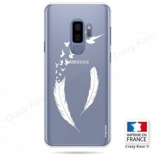 Coque Galaxy S9+ souple motif Plume et envol d'oiseaux - Crazy Kase