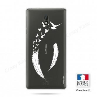Coque Nokia 3 souple motif Plume et envol d'oiseaux - Crazy Kase
