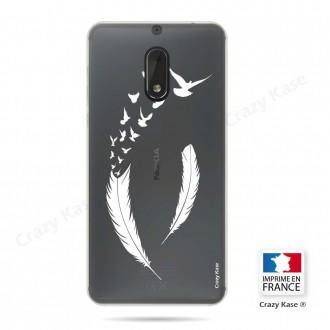 Coque Nokia 6 souple motif Plume et envol d'oiseaux - Crazy Kase