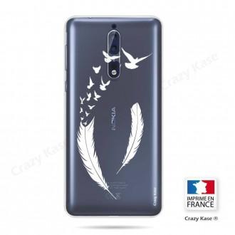 Coque Nokia 8 souple motif Plume et envol d'oiseaux - Crazy Kase