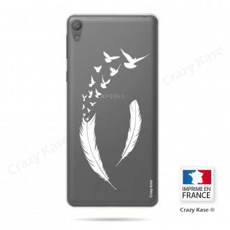 Coque Xperia E5 souple motif Plume et envol d'oiseaux - Crazy Kase
