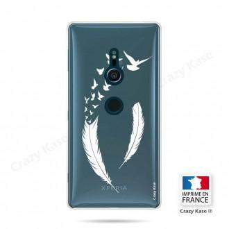 Coque Sony Xperia XZ2 souple motif Plume et envol d'oiseaux - Crazy Kase