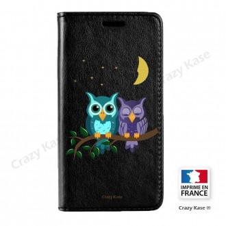 Etui Galaxy S9+ noir motif Chouettes au clair de lune - Crazy Kase