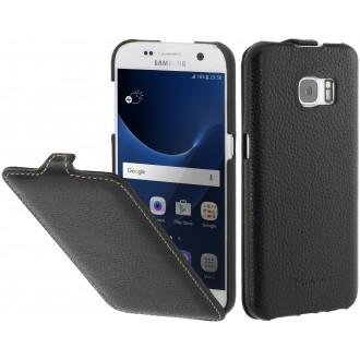 Etui Samsung Galaxy S7 UltraSlim noir en cuir véritable - Stilgut