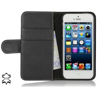 Etui iPhone SE / 5S / 5 portefeuille Talis cuir véritable noir - Stilgut