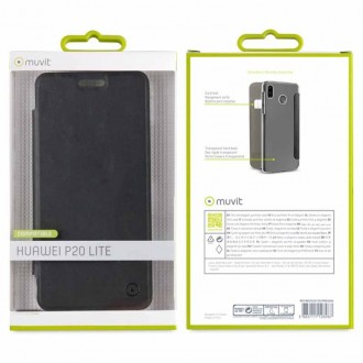 Etui Huawei P20 Lite Folio Noir - Muvit