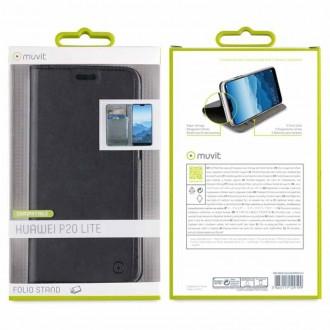 Etui Huawei P20 Lite Porte cartes Noir - Muvit