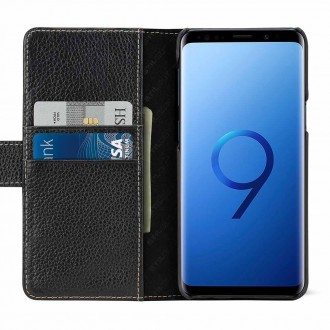 Etui Galaxy S9 porte-cartes grainé noir en cuir véritable - Stilgut
