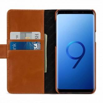 Etui Galaxy S9 porte-cartes cognac en cuir véritable - Stilgut