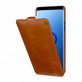 Etui Galaxy S9+ UltraSlim Cognac en cuir véritable - Stilgut