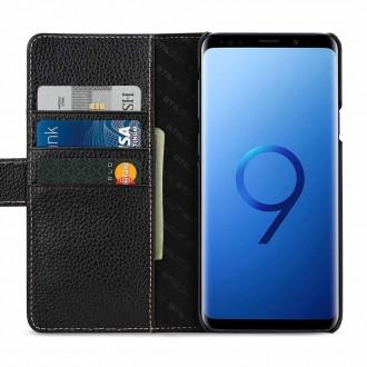 Etui Galaxy S9+ porte-cartes grainé noir en cuir véritable - Stilgut