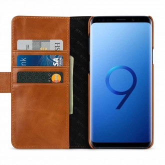 Etui Galaxy S9+ porte-cartes cognac en cuir véritable - Stilgut