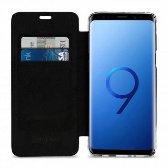 Etui Galaxy S9 en cuir véritable noir anti RFID / NFC - StilGut