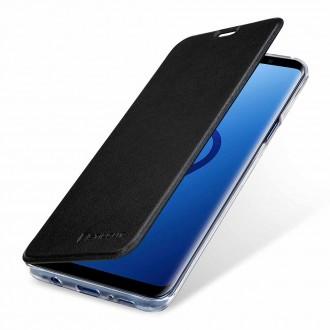 Etui Galaxy S9+ en cuir véritable noir anti RFID / NFC - StilGut