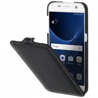 Etui Galaxy S7 UltraSlim Noir Nappa en cuir véritable - Stilgut