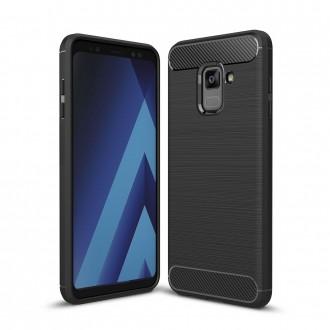 Coque Galaxy A8 (2018) noir effet carbone - Crazy Kase