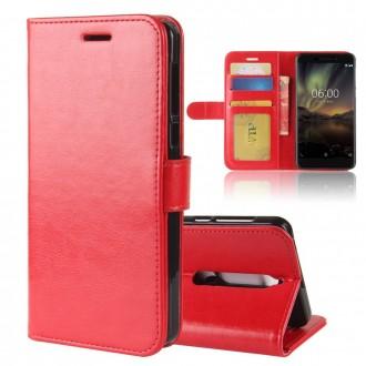 Etui Nokia 6.1 Portefeuille Rouge - Crazy Kase