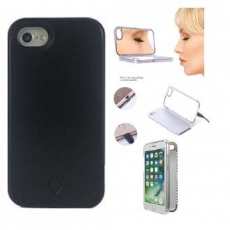 Coque iPhone 8 Plus / 7 Plus noire avec miroir et Led - Crazy Kase