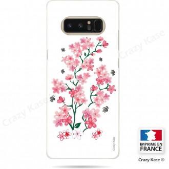 Coque Galaxy Note 8 souple motif Fleurs de Sakura sur fond blanc - Crazy Kase