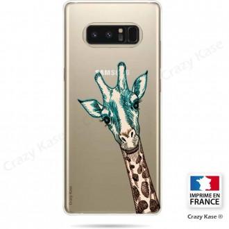 Coque Galaxy Note 8 souple motif Tête de Girafe - Crazy Kase