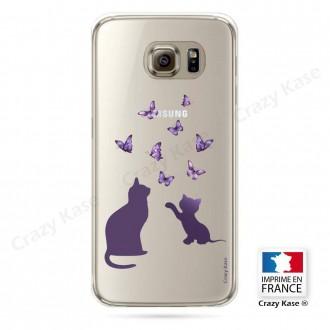 Coque Galaxy S6 souples Chaton jouant avec papillon - Crazy Kase