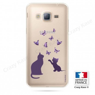 Coque Galaxy Grand Prime souple Chaton jouant avec papillon - Crazy Kase