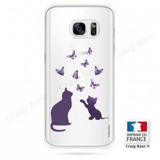Coque Galaxy S7 Edge souple Chaton jouant avec papillon - Crazy Kase