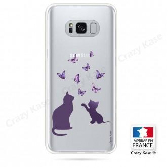 Coque Galaxy S8 souple Chaton jouant avec papillon - Crazy Kase
