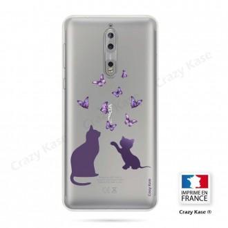 Coque Nokia 8 souple Chaton jouant avec papillon - Crazy Kase