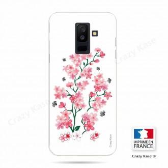 Coque Galaxy A6+ (2018) souple motif Fleurs de Sakura sur fond blanc - Crazy Kase