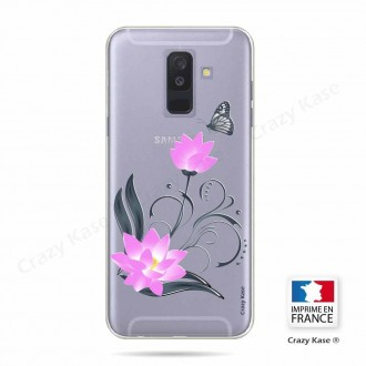Coque Galaxy A6+ (2018) souple motif Fleur de lotus et papillon - Crazy Kase