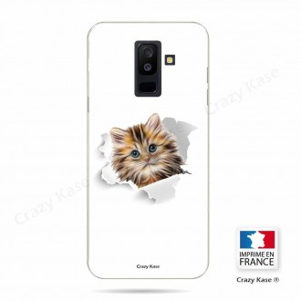 Coque Galaxy A6+ (2018) souple motif Chat mignon - Crazy Kase